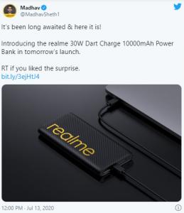 Realme 30W Dart Şarjı 10000mAh yarın Hindistan'da Piyasaya Sunulacak!!