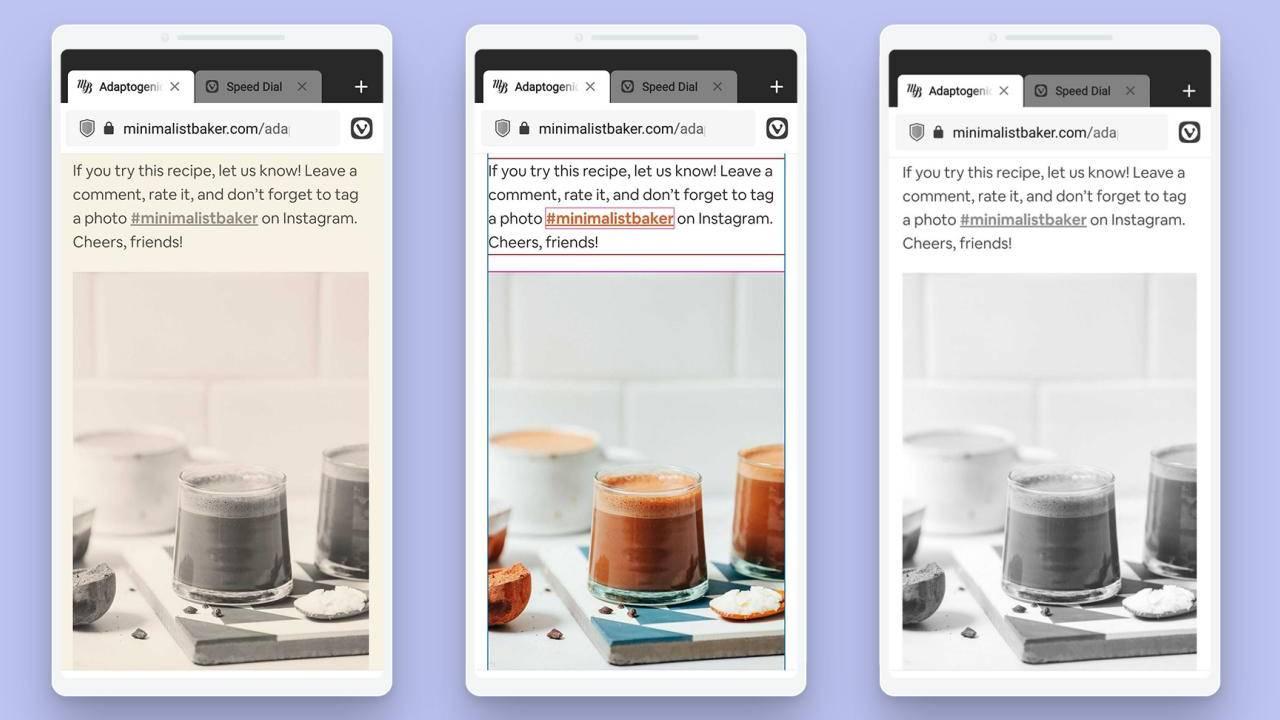 Android'deki Vivaldi tarayıcısı, sayfaların görünümünü değiştirmenize izin veriyor