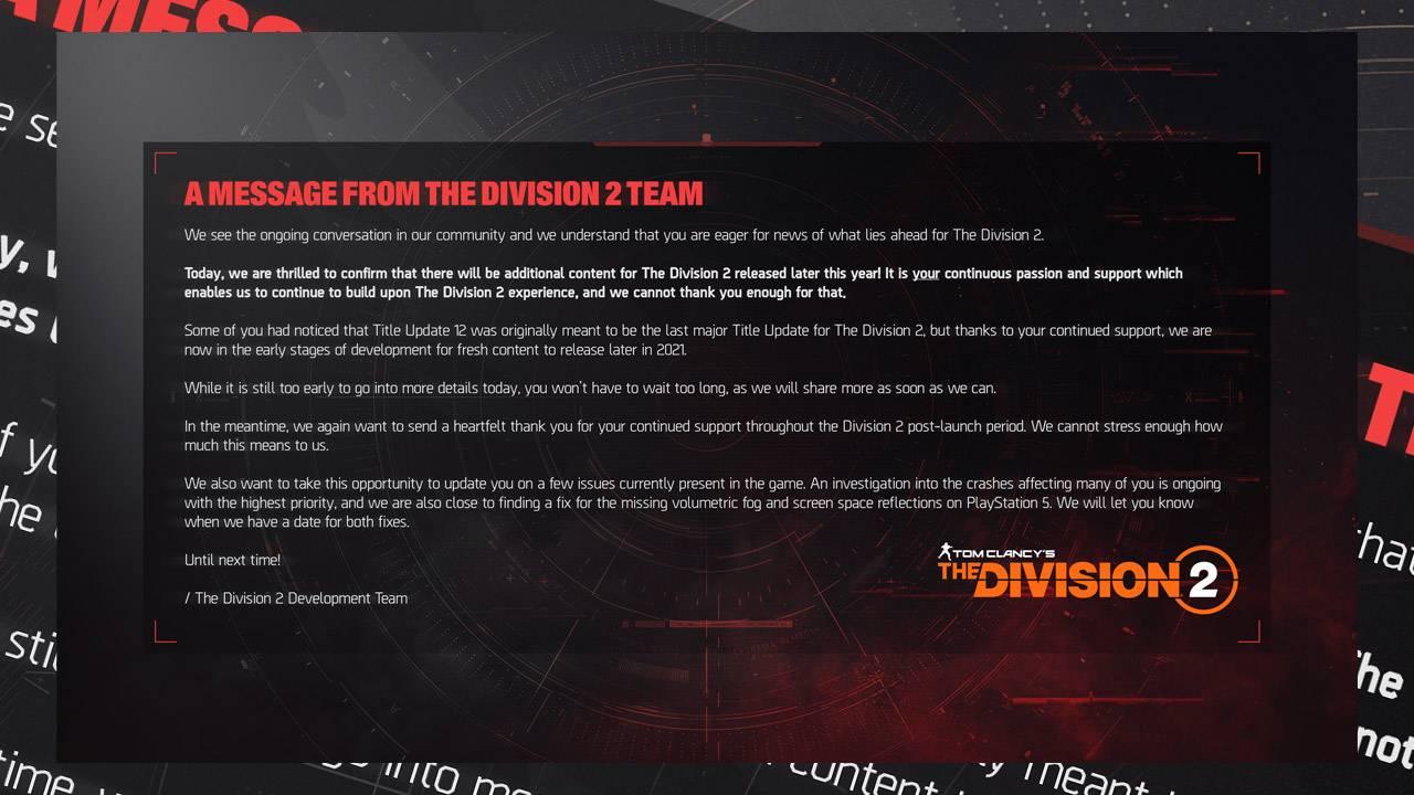 Division 2 sisi hala eksik, ancak güncellemeler bitmedi 2021